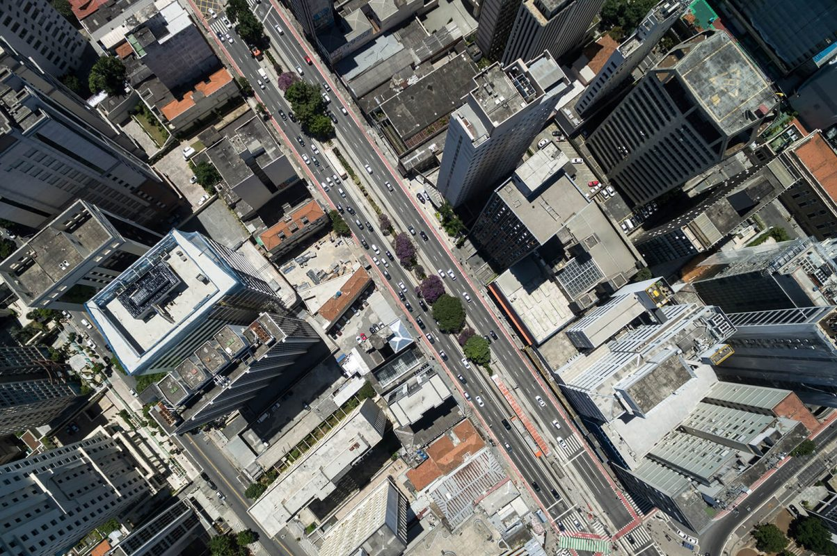 City street and tall buildings from above