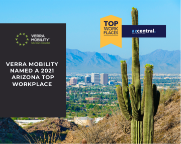 Verra Mobility Named a 2021 Arizona top workplace with Phoenix cityscape, mountains and cactus